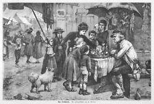 Jahrmarkt im Schwarzwald, am Drehbrett, Glücksrad, Original-Holzstich von 1877