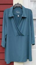 "Soft by Avenue Blue Gray 3/4 Sleeved V Neck Polyester/Spandex Blouse 30/32 (58"")"