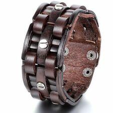 "Retro Cross Woven Punk Rock Men's Leather Strand Brown Cuff Bangle Bracelet 9.7"""