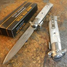 TAC-FORCE Spring Speed Assisted WHITE Swirl Milano Celluloid STILETTO Knife NEW!