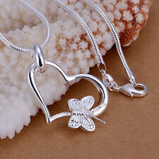 Wholesale 925Sterling Silver Lovely Butterfly Heart Pendant Necklace PP090