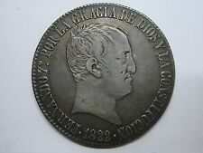 "1822 FERDINAND VII 20 REALES MADRID MINT INITIAL""SR"" PILLAR SPANISH COLONIAL"