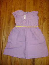NWT BROOKS BROTHERS DRESS for GIRLS size 12 PURPLE YELLOW BELT TRIM 100% LINEN