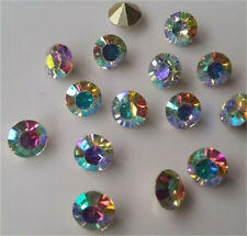 Free Shipping 50pcs 6mm AB Crystal beads Point back Rhinestones Resin Chatons