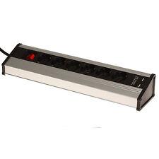 Aluminium Tisch Steckdosenleiste 6-fach mit 2x USB