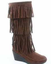 New Women Fringe Moccasin Wedge Flat Zipper Mid Calf Knee High Boot Size 5.5 -10