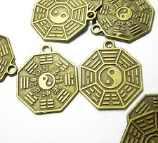 20Pcs Copper Coated Taiji 8-Diagram Beads Finding--Jewelry Beads