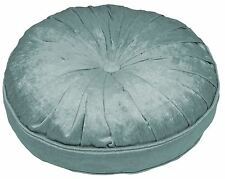 "PLEATED VELVET BUTTON PIPED DUCK EGG BLUE 40CM 16"" DIAMETER ROUND FILLED CUSHION"