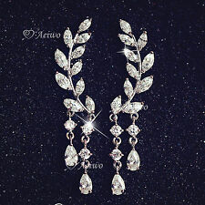 18K WHITE GOLD 925 SILVER CLEAR CRYSTAL LEAVES DROP STUD EAR CLIMBERS