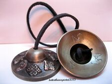 Traditional Tibetan 8 AUSPICOUS SYMBOLS Buddhist Tingsha Cymbal Chime Bell Brass