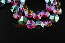 50 Faceted Glass Crystal Heart Charms Loose Spacer Beads Hot Colorized 14mm New