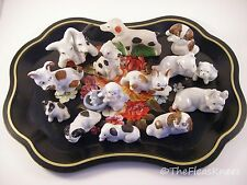 Lot of 14 Mini Dog Figurines Vintage Antique 1930's Germany Japan on Black Tray