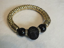 Collectible Stretch Bracelet Gold Tone  Rhinstones Black Mesh 3/4 Wide x 2 1/2