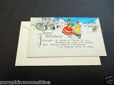 #J702 Unused Hand Colored Art Deco Xmas Greeting Card Victorian Carolers Singing