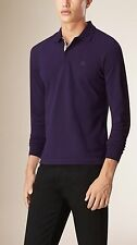 Burberry Brit Men's Casual Long Sleeve Nova Polo Shirt Regency Purple Medium M
