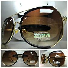 CLASSIC VINTAGE Cool 70's RETRO Style PARTY SUN GLASSES SHADES Black Gold Frame
