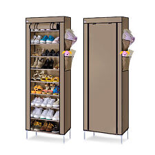 27 Pairs Shoes Cabinet Storage Organizer 10 Tier Shoe Rack Dustproof / UK Seller