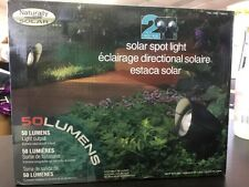 New Naturally Solar Spot Light LED 50 Lumens All-Weather Ground 8 Hours, 2 Pack