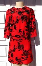 KARTA Red Black Rose Print Black Sequined 3/4 Sleeve Dress Sz XS
