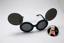 BUTTON PIN OF LADY GAGA WEARING MOUSE EAR FLIP UP SUN GLASSES BLUE BLACK LENS