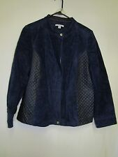 Isaac Mizrahi Live! Suede Jacket w/ Lamb Leather Quilted Details 18W A266338