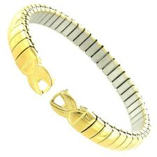 Gilden C-Ring Hook End Stainless Steel Gold Tone Ladies Stretch Watch Band 104-Y