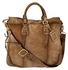 $2680 PRADA Scamosciato Suede CERVO ANTIK Shoulder Bag Sandy Light Brown BR2350