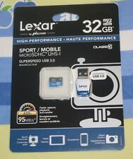 NEW Lexar 32GB High-Performance microSDHC Class10 UHS-I Memory Card w/ Reader