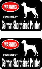 2 protected by German Shorthaired Pointer dog home window vinyl decals stickers