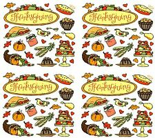 Frances Meyer THANKSGIVING Scrapbook Stickers! Turkey Food Meal 4 Sheets!