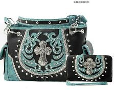 WESTERN RHINESTONE CROSS CONCEALED WEAPON SHOULDER HANDBAG SET
