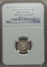 1764 Mexico MO M 1/2 Real, NGC UNC Details, Cleaned