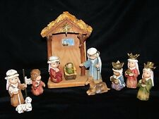 Exclusively by Roman Children NATIVITY SET 11 Pieces Manger Stable Resin
