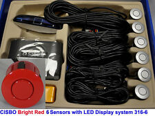CISBO Bright Red Front Reverse Parking 6 Sensor Kit Buzzer Alarm LED Display
