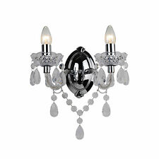 Shabby Chic Boudoir Clear & Chrome Jewelled Twin Wall Light Fitting Sconce