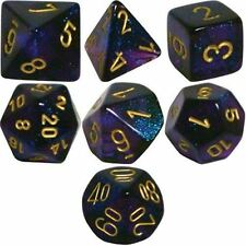 Chessex Polyhedral 7 Die Borealis Royal Purple Gold Numbers Dice Set 7 CHX 27467