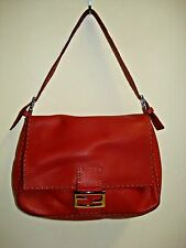 FENDI SELLERIA MAMA FOREVER BAGUETTE RED PEBBLE LEATHER  STERLING .925 HARDWARE