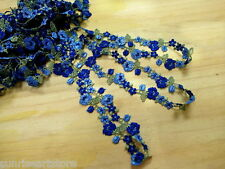 """DN712-1 """" Blue Embroidered  Venise Lace Trim by Yard"""