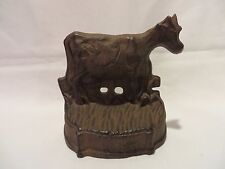 Vintage Rustic Cast Iron Cow Door Stop w/wedge stop - Brown Country Statue Farm