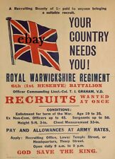 WW1 RECRUITMENT POSTER ROYAL WARWICKSHIRE REGIMENT NEW A4 PRINT