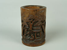 A 19th c. chinois 清朝 (dynastie qing) carved bamboo brush pot.