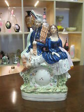 Antique Victorian Staffordshire Figure Scottish Couple Clock Group Well Coloured