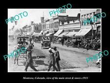 OLD LARGE HISTORIC PHOTO OF MONTROSE COLORADO, THE MAIN STREET & STORES c1913