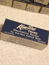 "NOS Vintage 1940-50s Kem Tone wall border trim pre-pasted 12' X 4"" beautiful"