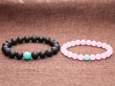 Matte Onyx and Rose Quartz 8mm Beads His and Hers Distance Couples Bracelet 2pcs