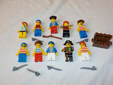 Lego lot x10 Vintage Pirate minifigures with weapons and treasure chest  C105