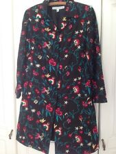 David Brooks 100% Seda Bordado Floral Abrigo Talla 10-12