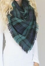 Navy And Green Large Blanket Scarf
