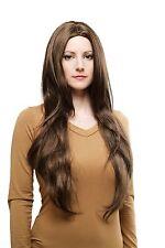 Perücke Wig dunkelbraun glatt sehr lang Mittelscheitel Haarersatz 80 cm 3217-8