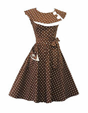 New Ladies Vintage 1950s style Brown Polka Dot Pure Cotton  Swing Tea Dress UK8
